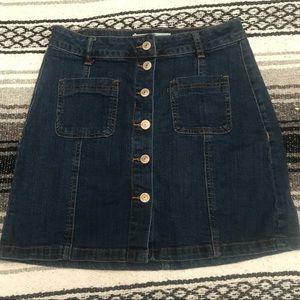 High waisted jean skirt.